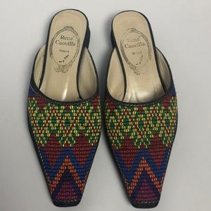 Rene Caovilla venezia Denim Embroidered flats Sz 6
